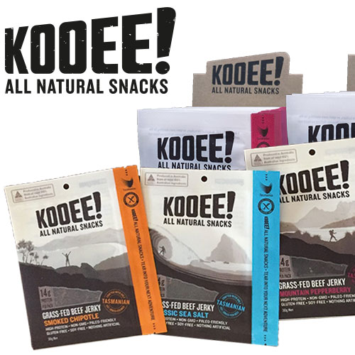 KOOEE all natural 100% grass fed beef jerky comes from the lush windswept pastures of Tasmania. no soy and nothing artificial.