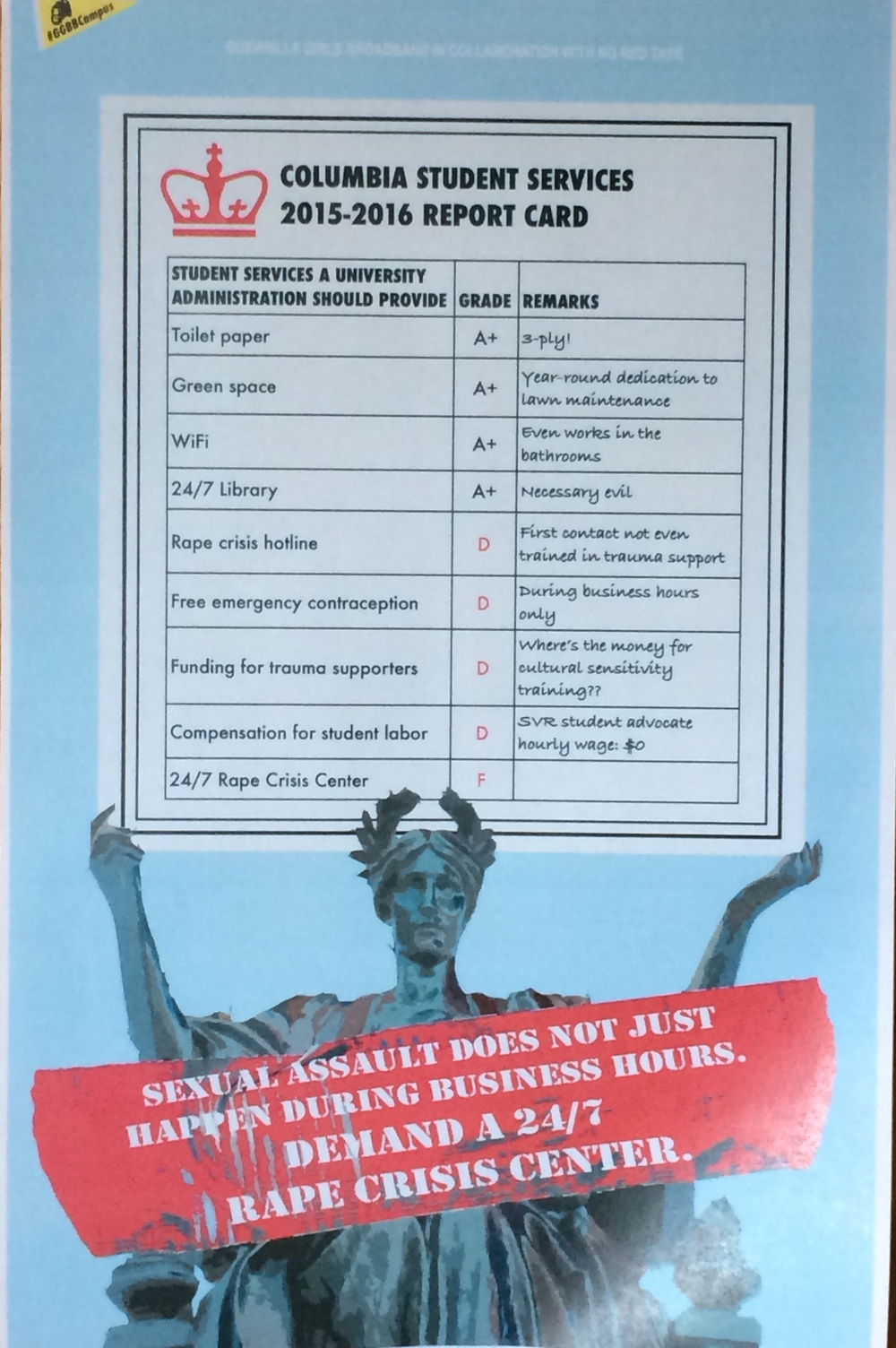 Poster of NRT demands made in collaboration with the Guerrilla Girls Broadband
