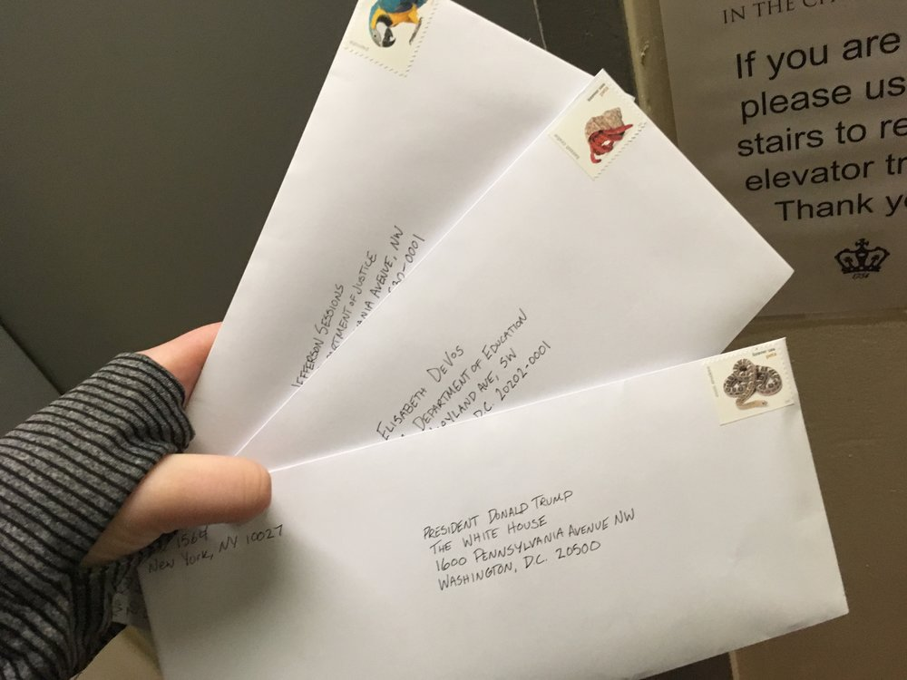 Mailing demands to Trump administration