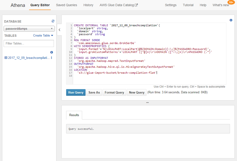 Screenshot showing the DDL statement executed in Athena.