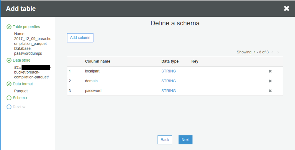 define the schema for the data stored in this table