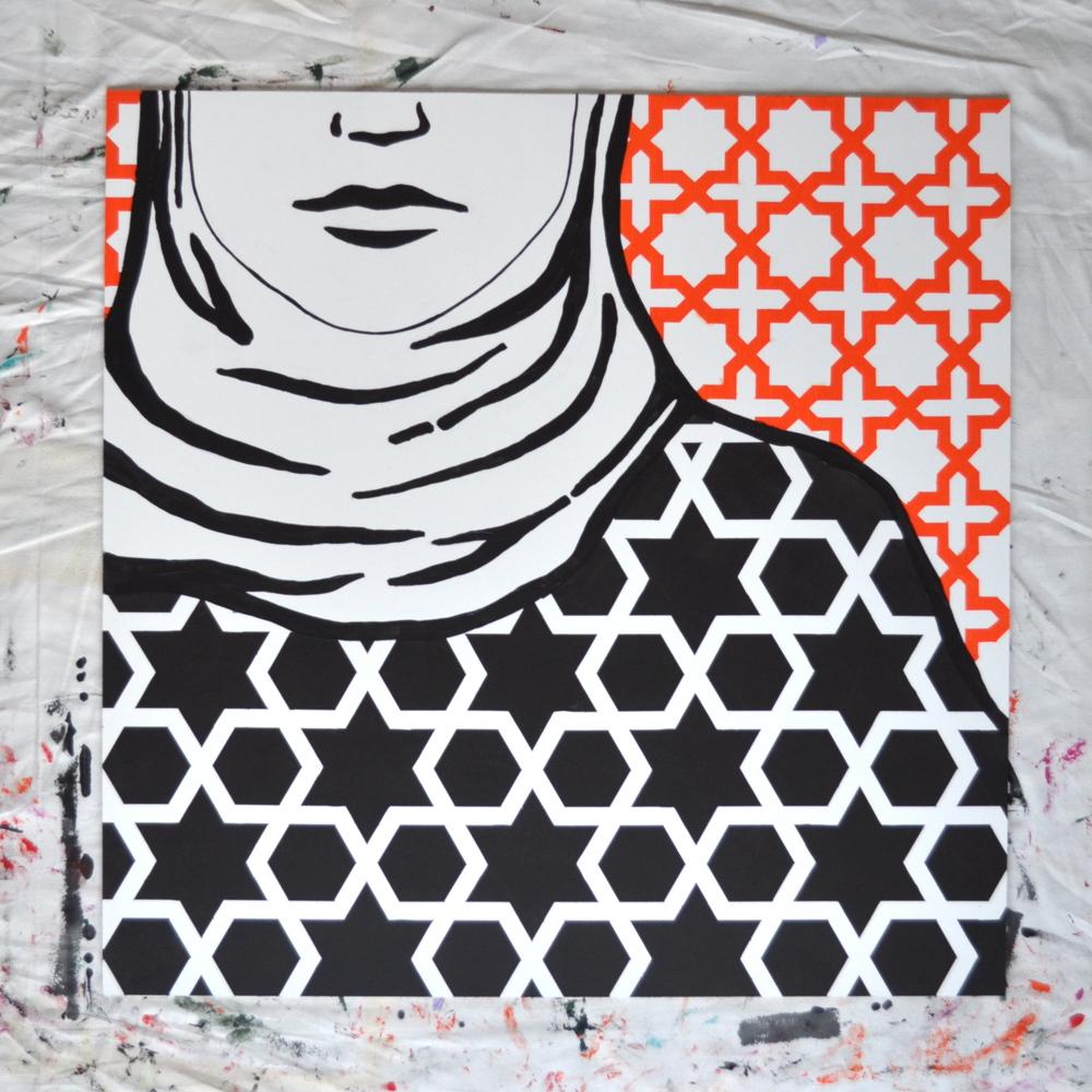 little black scarf long black dress  |  summer 2016  |  acrylic on mdf 90x90cm  |  600 NZD