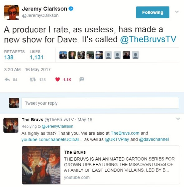 Jeremy Clarkson tweet about The Bruvs.jpg