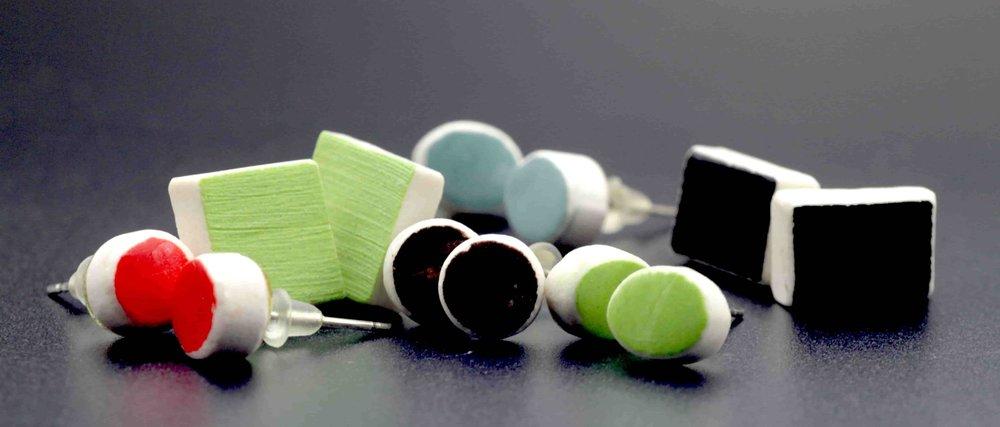 Ceramic earrings by Sunshine March artist.JPG