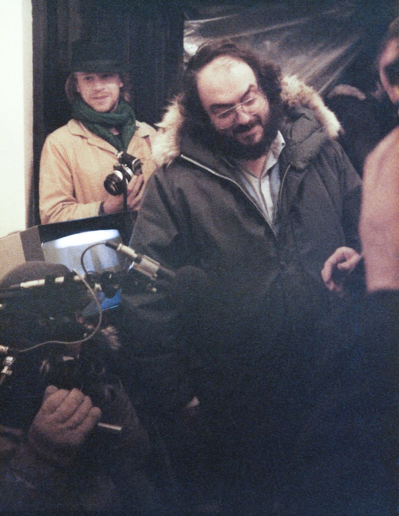Leon Vitali on-set with Stanley Kubrick. Photo courtesy Leon Vitali