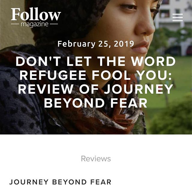 "There's a new review up on the Follow Magazine blog.  @journeybeyondfear directed by Robyn Hughan. ""When you think of refugees what do you think of? Perhaps it's desperate men, women, and children on a boat, buffeted by waves. Perhaps it's hovering dust, gunfire, fighter jets overhead. Perhaps it's sprawling tents and improvised huts stretching beyond sight under the scorching sun."" Look further with Journey Beyond Fear."