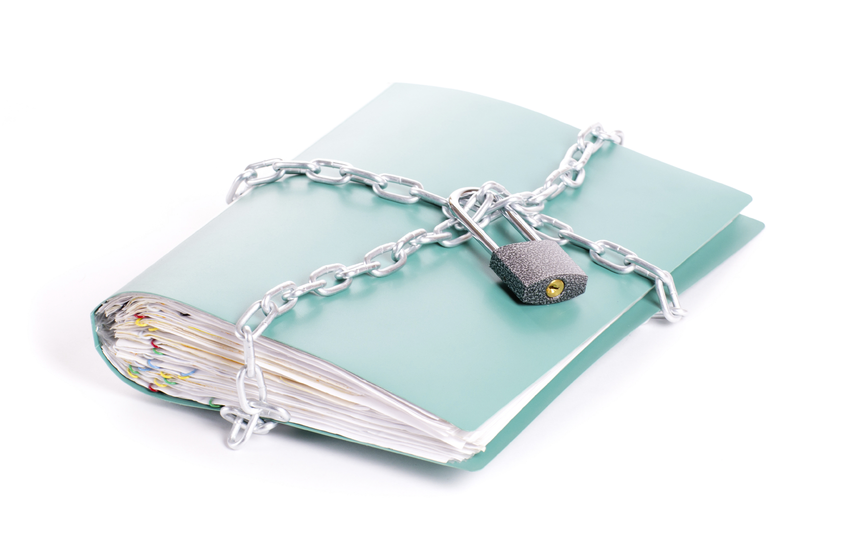Folder security whit  chain and padlock