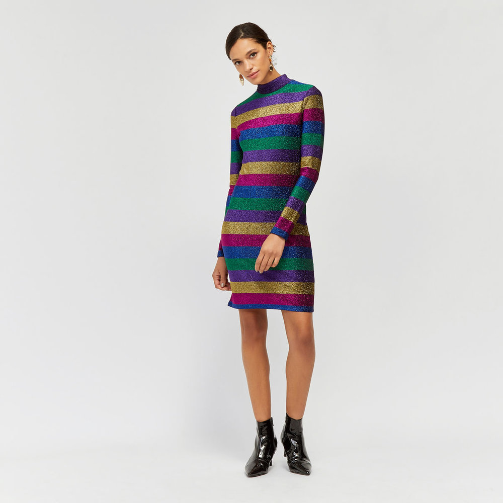 Rainbow Sparkle Stripe Dress