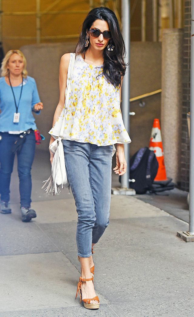 Amal Clooney opts for a tan crossover version.