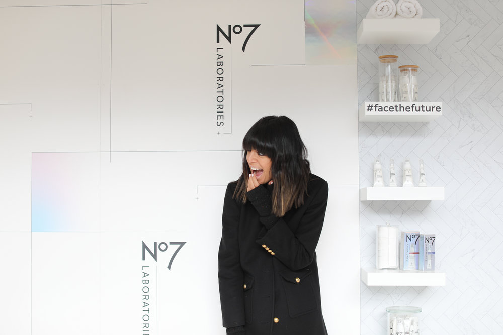 No7 Ambassador, Claudia Winkleman at the Covent Garden Pop Up Skin Clinic.