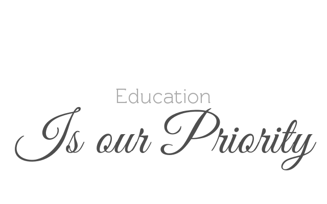 "Word graphic containing, ""Education is our priority"". We focus on education because we want to help you take care of your skin by understanding your skin."