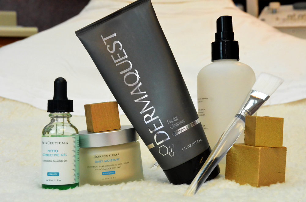 A mix of products from Dermaquest and SkinCeuticals