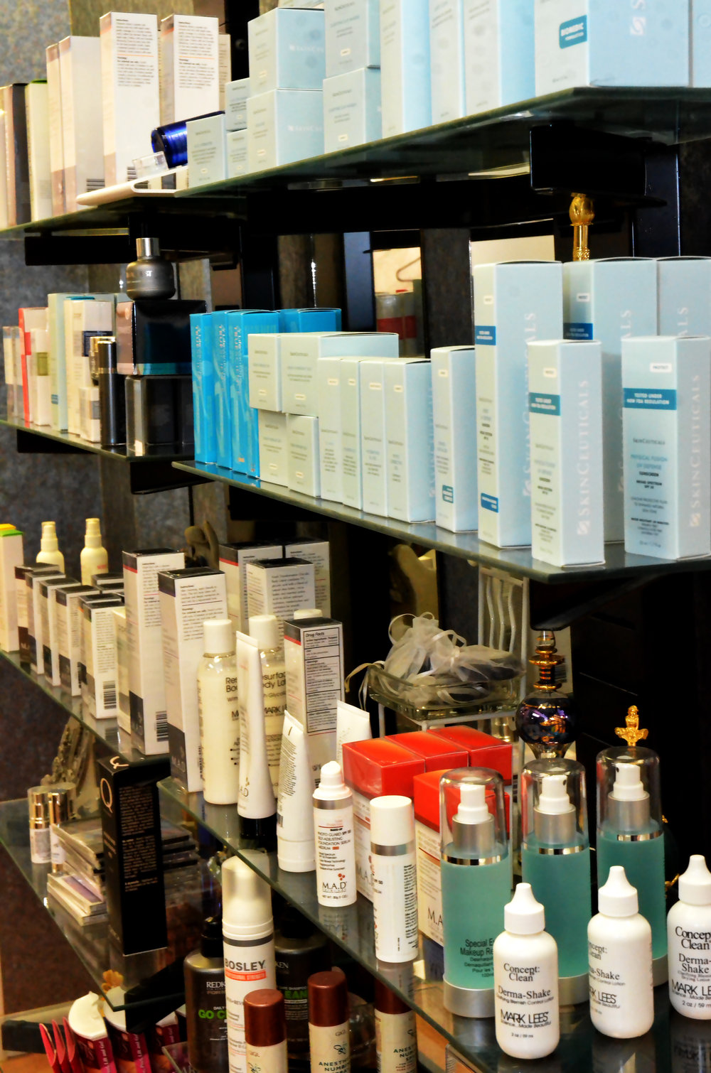 A mix of products from SkinCeuticals, Dermaquest, MarkLees, and M.A.D.