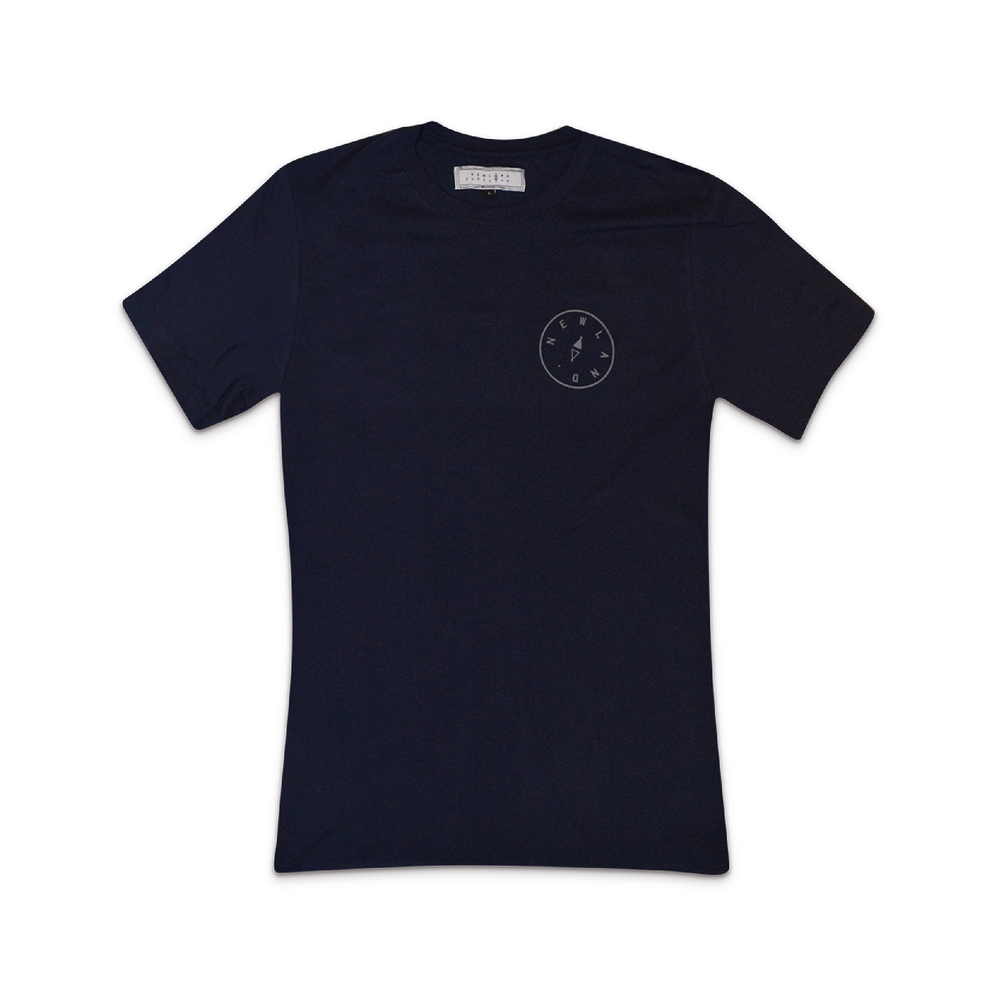 PEVERIL tee in NAVY  A ring-spun cotton classic with Newland print on the front & our compass detailing on the back.    SHOP NOW        £24
