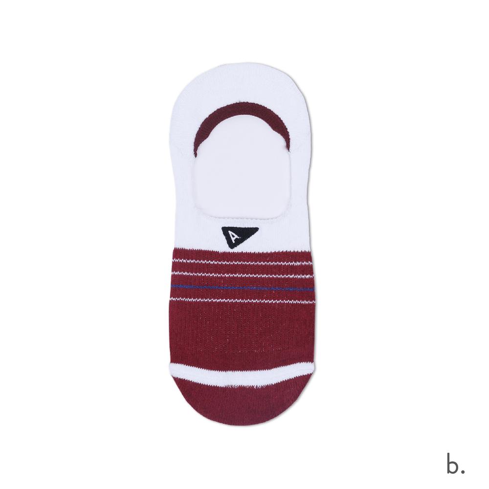 b. Burgundy & White No Show Sock.png