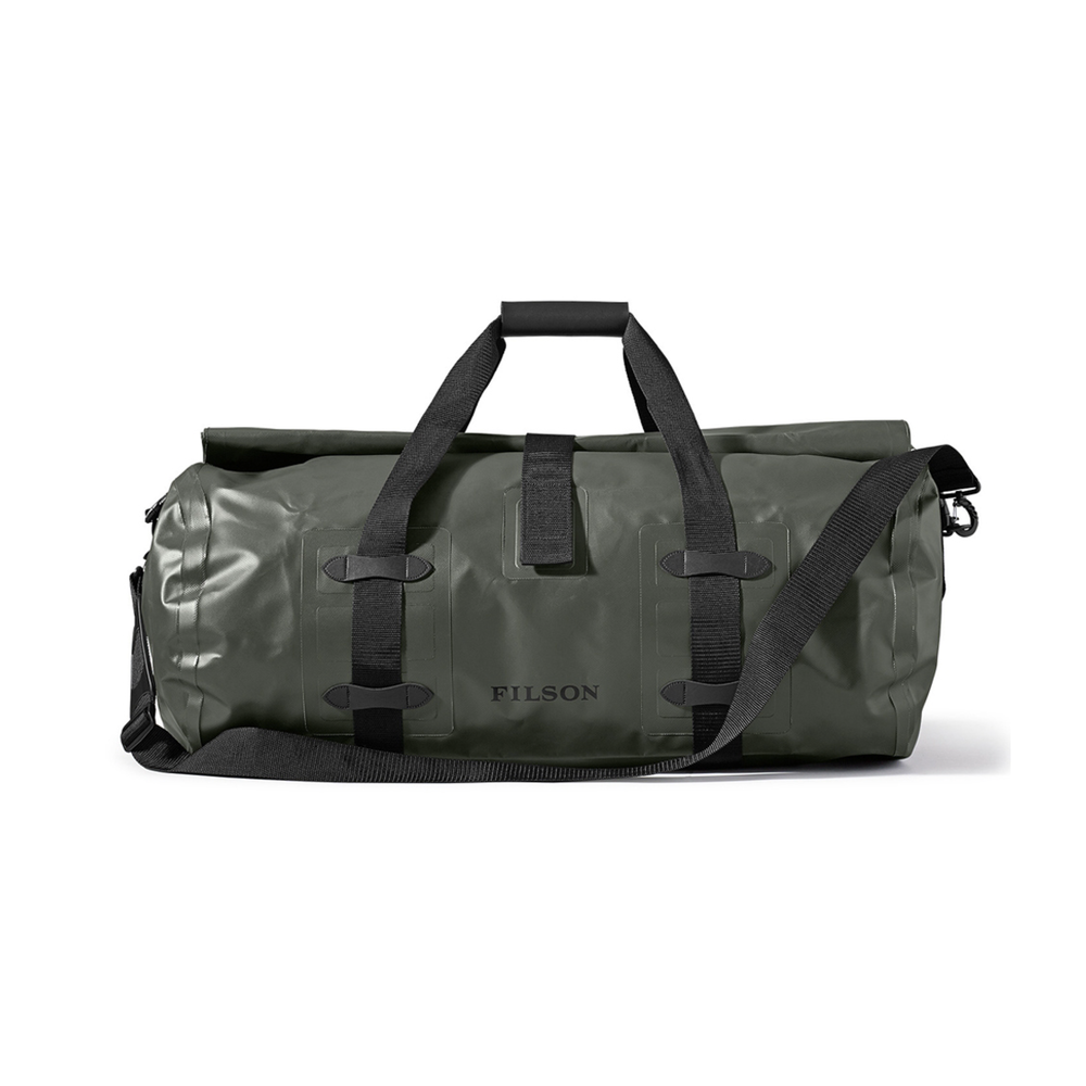 DRY DUFFLE BAG LARGE    By  Filson     Quite easily the most rugged and hard wearing duffle on the market. A larger size for those bigger excursions.     SHOP NOW        £115