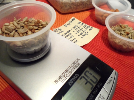30 grams of sunflower seeds, 20 grams or almonds OR 37 grams of walnuts = 5 g carbs.