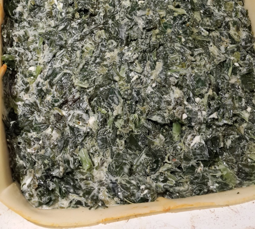 "Spanakopita filling - just add the cheese ""crust"" on top and into the oven it goes!"