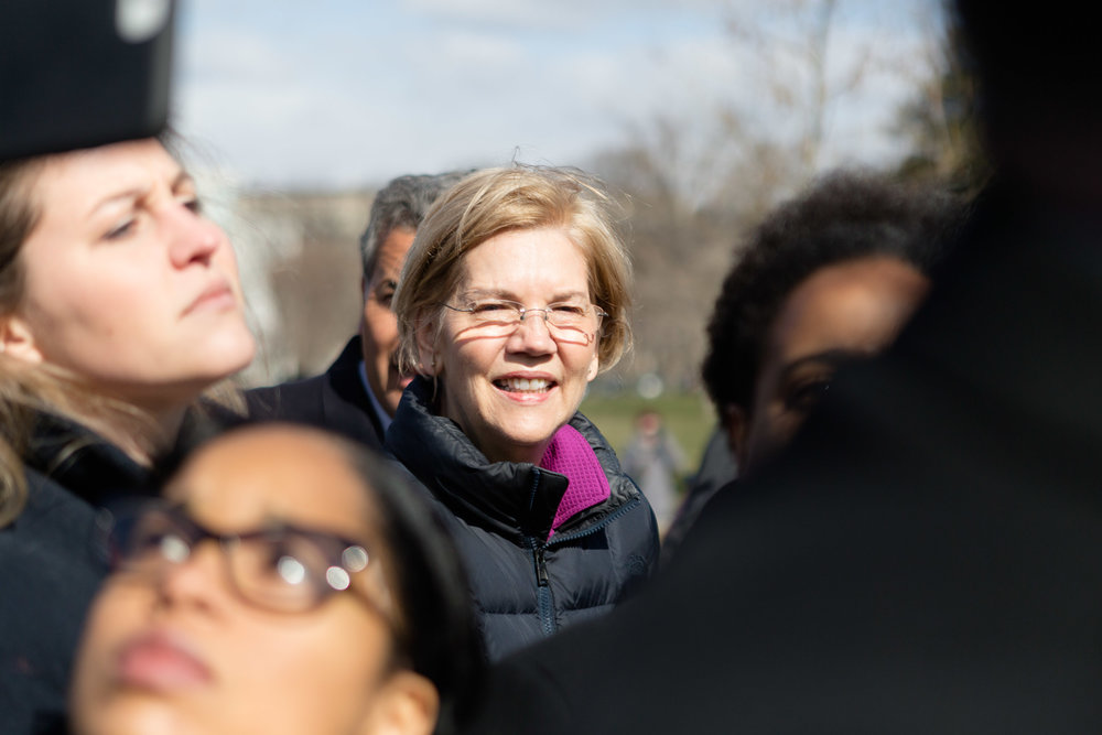Senator Elizabeth Warren was among a few Democratic leaders who came out to greet students protesting outside of the Capitol Building.