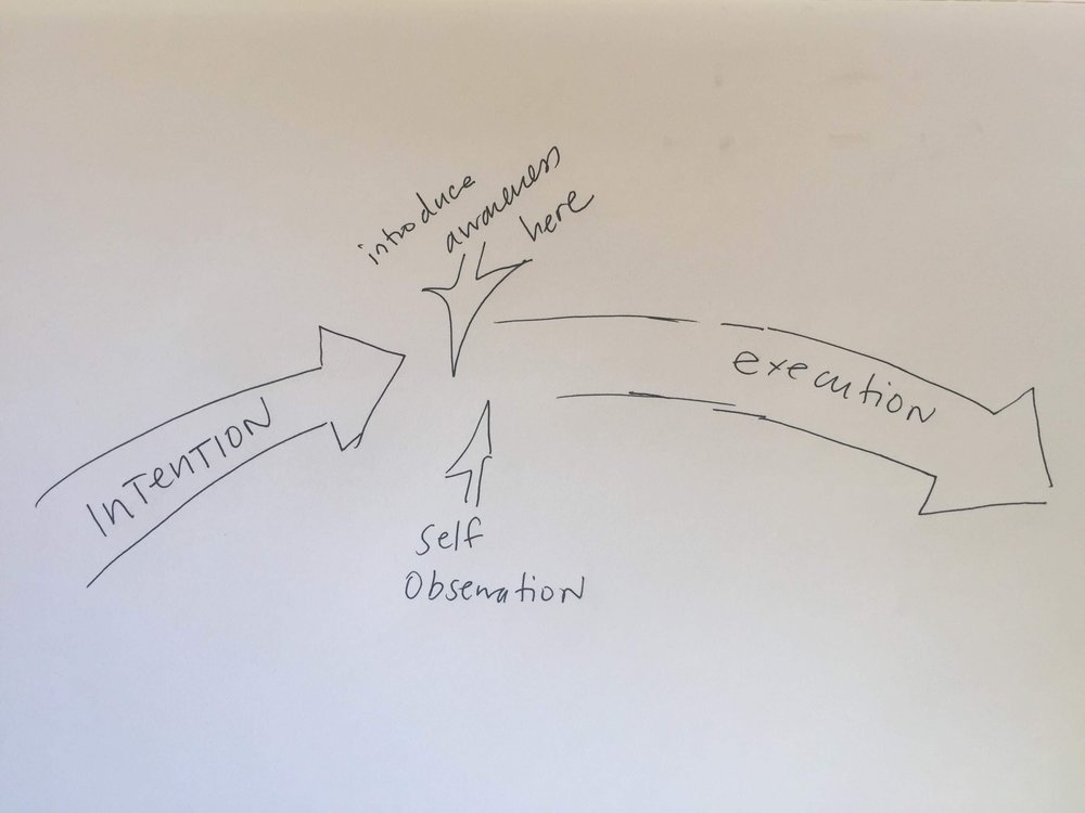 This an illustration of something Aliza said about self-observation and awareness as being the small moment or sliver in time when intention turns into execution.
