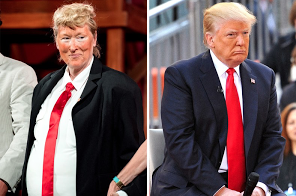 Meryl Streep dresses as Donald Trump. Streep by Roy Rochlin,.  Trump by D. Dipasupil/Film Magic, both from Getty Images