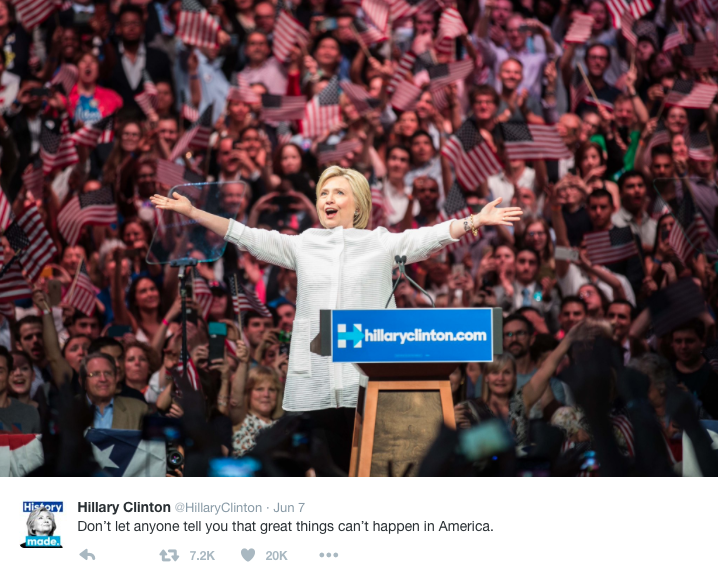 Hillary Clinton wins the Democratic nomination.  Photo from @HillaryClinton Twitter account