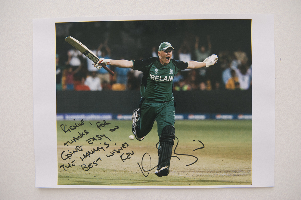Ireland Cricket Player, Kevin O'Brien, 'Richie, thanks for going easy on the hammy's! Best wishes, Kev', Kevin O'Brien
