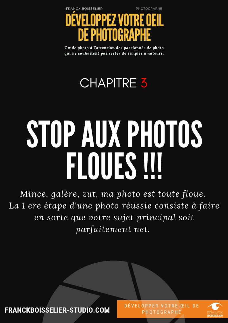 STOP photos floues - Etape essentielle, avoir des photos nettes. Ce guide composé de 5 pages vous donne les astuces pour réussir à avoir des photos nettes.