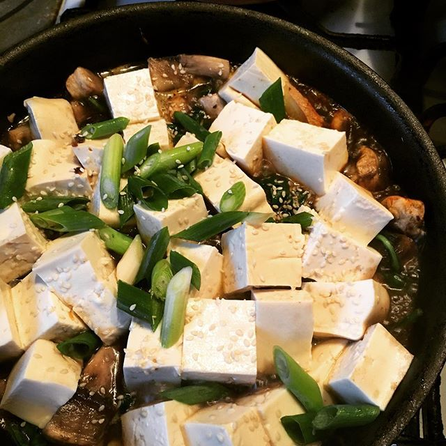 #CHinkedChef Spicy mushroom and spinach tofu stew #noMeat
