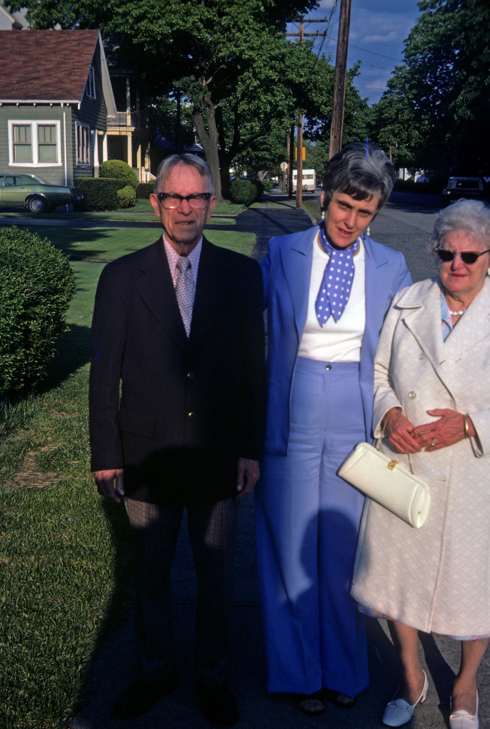 My gardening buddy, my grandfather Walter Gibbs, left, with my mom and grandmother
