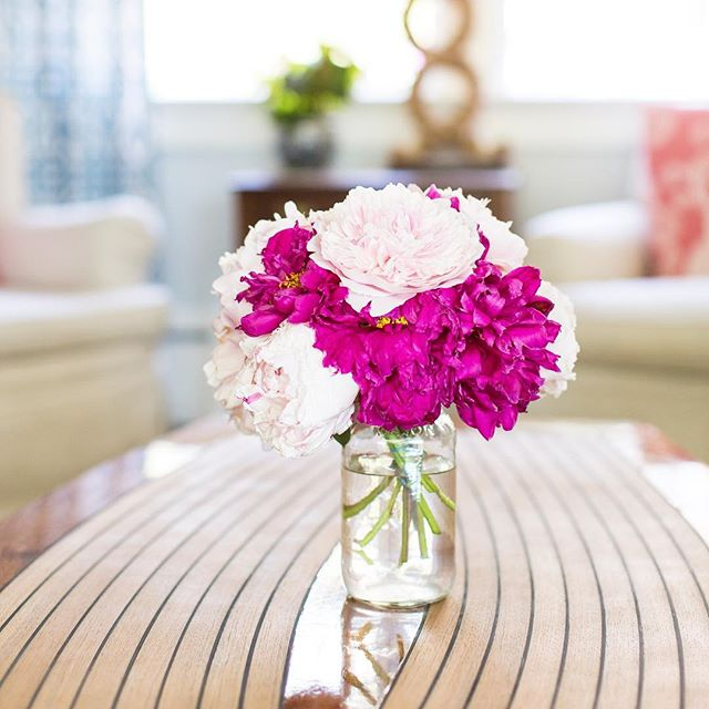 Peony season is here and they look mighty fine on our Spartan coffee table 💐👌🏻 #acgraylingfurniture #peonyseason #homegrownflowers #coastalhome #summerpeonies #newenglandsummer #newenglandhome #homedecor interiordesign