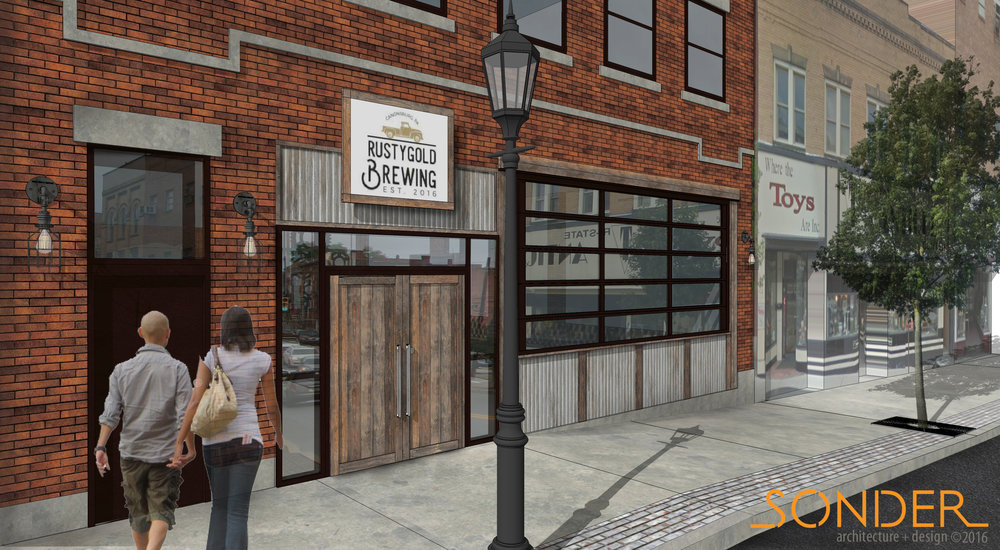 Rusty Gold Brewing, Canonsburg, PA: Storefront Rendering 2016