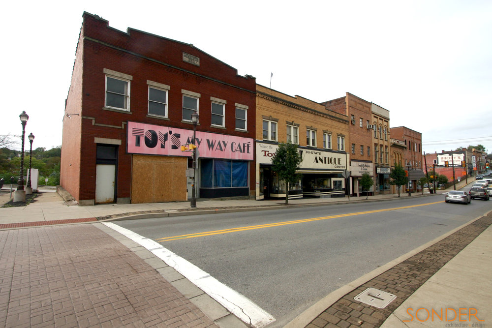 Existing storefront block in Canonsburg, PA.