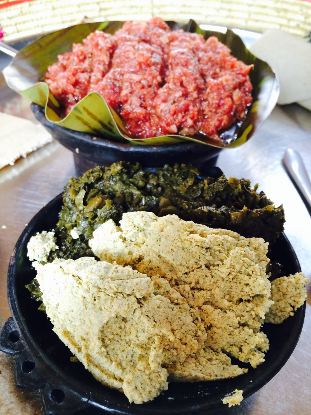 Kitfo, Ayib and Collared Greens