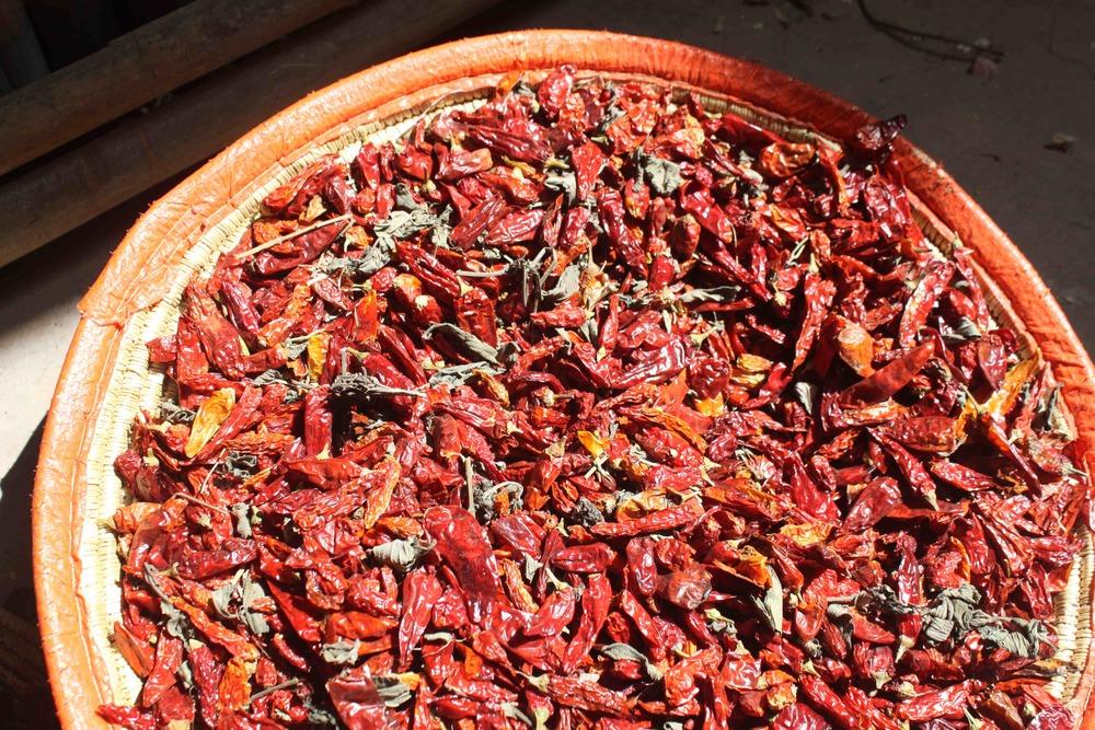 Mitmita: Bird's Eye Chilis and Korerima (Ethiopian Cardamom) Drying.