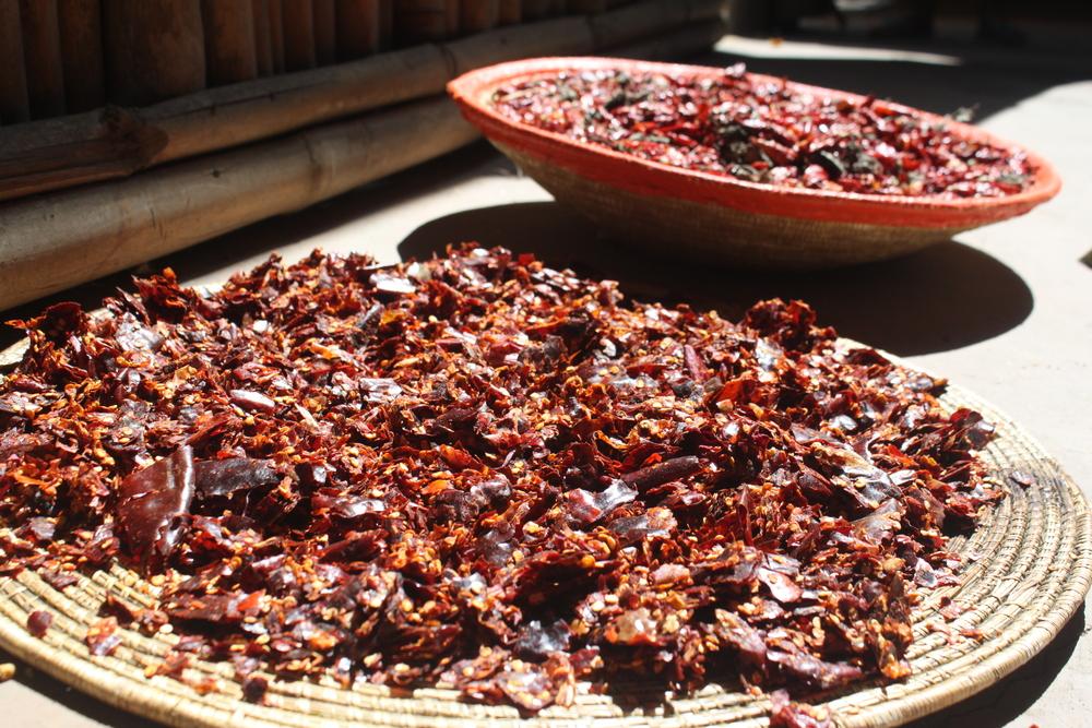Shredded Berbere Peppers Drying