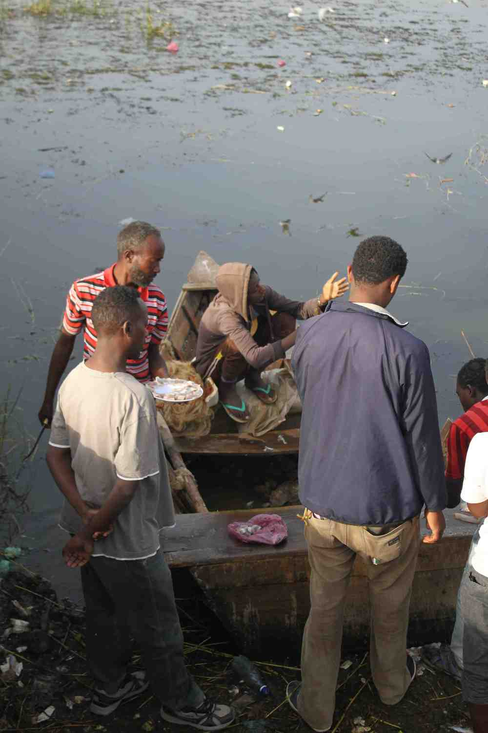 Raw fish served fresh from the boat at the Awassa fish market