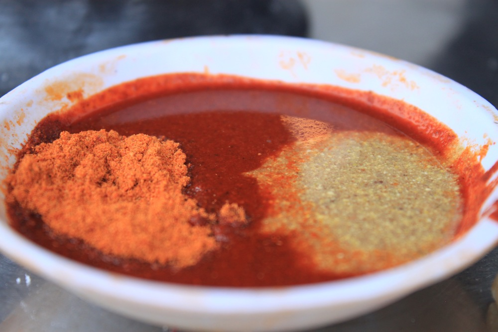 Awaze (dark red), Mitmita (orange powder) and Senafich (green)