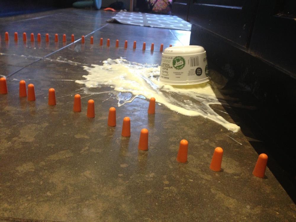Domestic emergency, The Yogurt Variety. site specific installation,yogurt, foam ear plugs. 2015