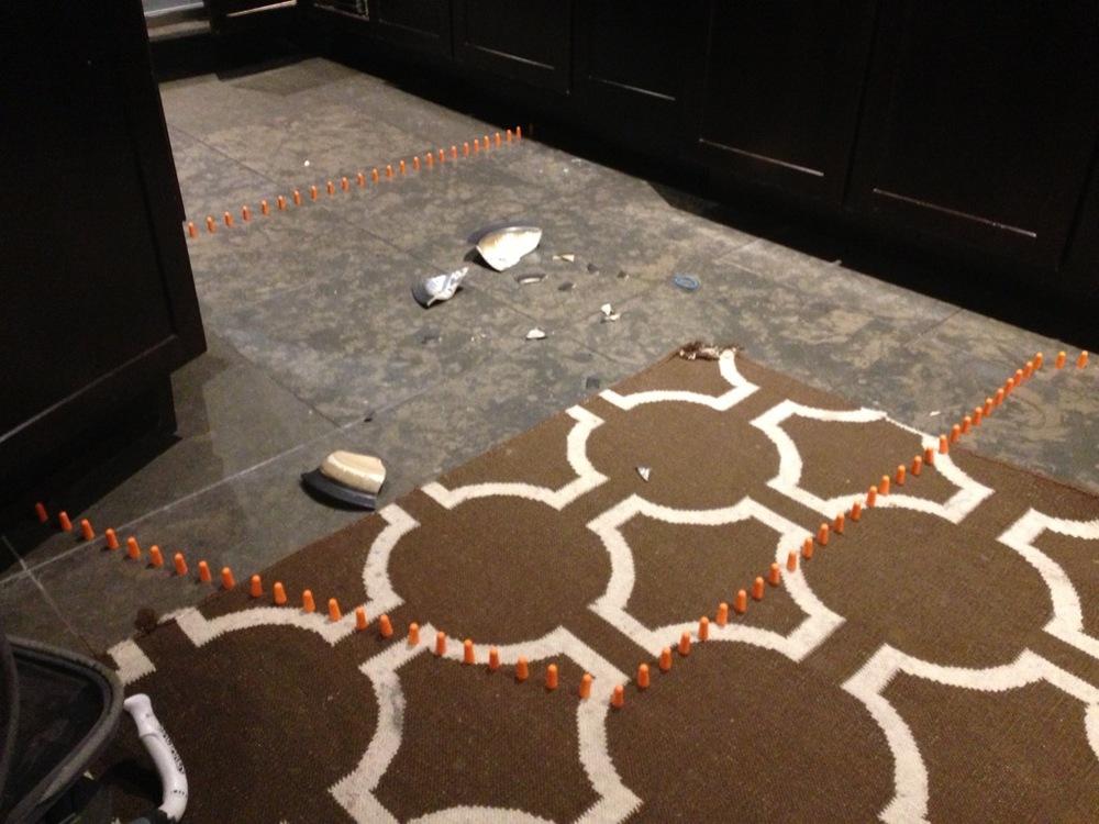 Domestic Emergency, Wedding Present N Minus One .Site specific installation,ceramic, foam ear plugs. 2015