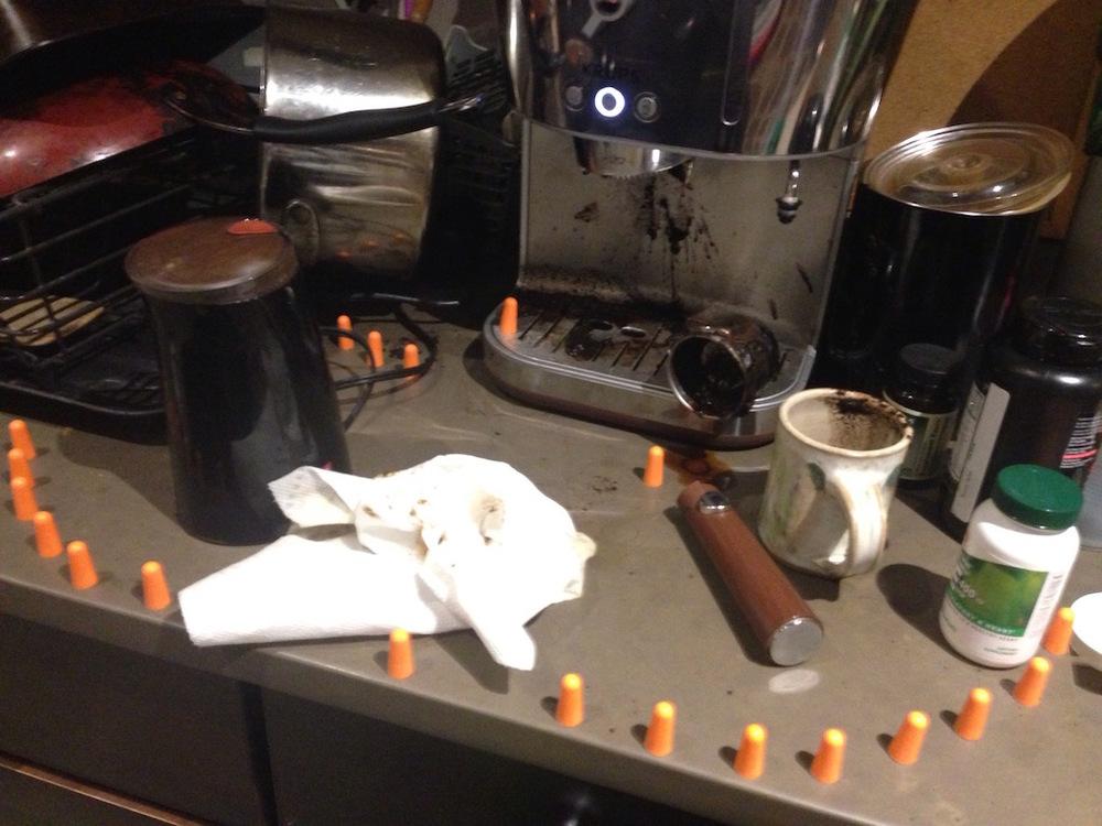 F***!! Site specific installation,coffee grounds, water,foam ear plugs. 2016