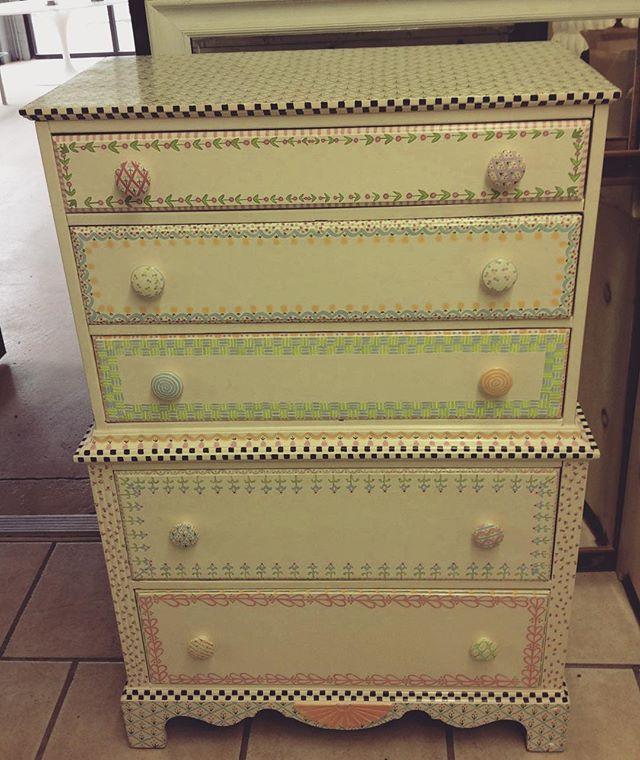 "Precious Painted Child's Dresser $300  33""w x 51""h x 18""d #crestlineexchangecompany #lovethis #shoplocal"