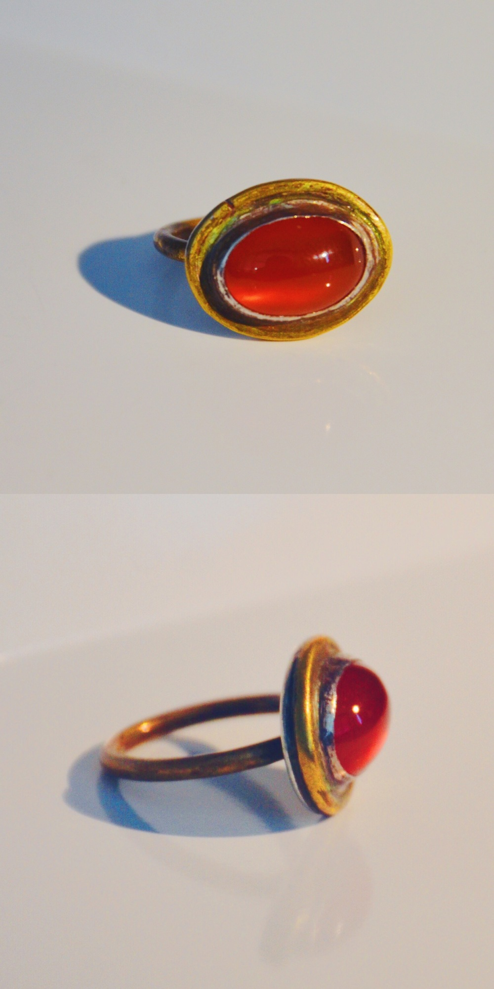 Fish Eyeball 2014  Carnelian, brass