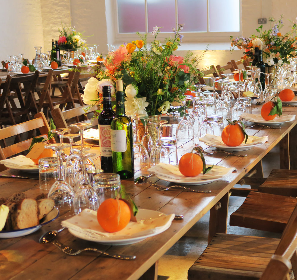 Orange and Green, Table centres - Morgans May wedding .jpg