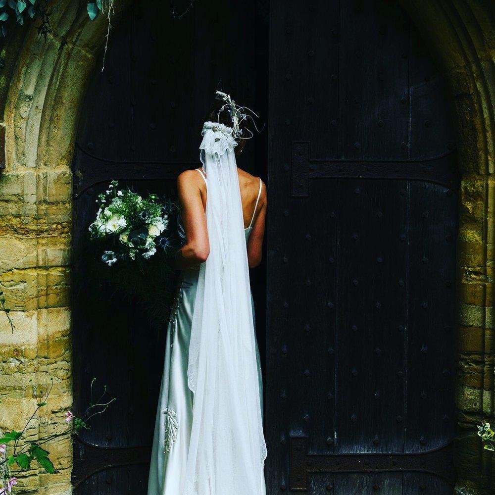 Ferns, Thistles, White Roses - September Bride