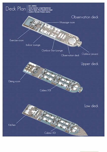 Zafiro Amazon Cruise - Deck Plan