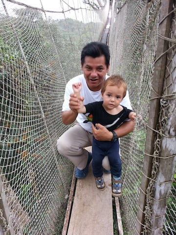 Ceiba Tops Guide with Young Client on Canopy Walkway