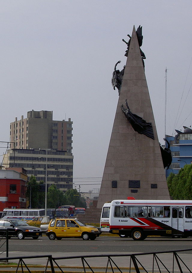 The Jorge Chavez Monument in Central Lima.