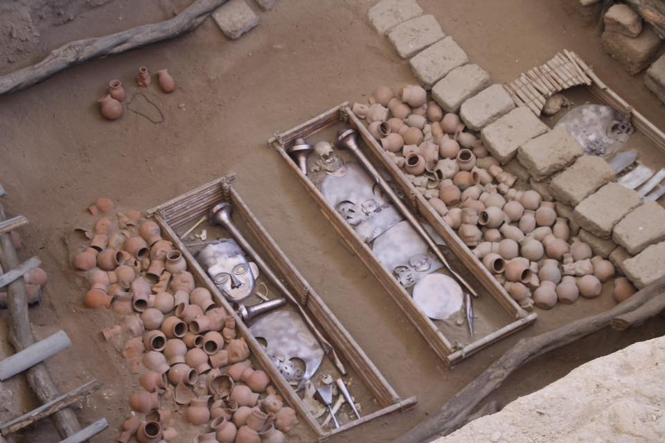 Reconstructed Moche tombs at Huaca Rajada.