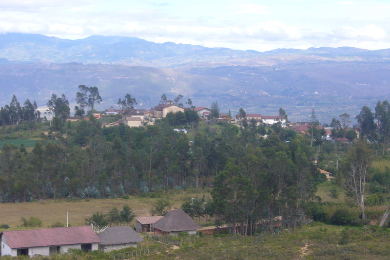 View of Huancas and rolling scenery around Chachapoyas from the Sonche Canyon lookout tower.